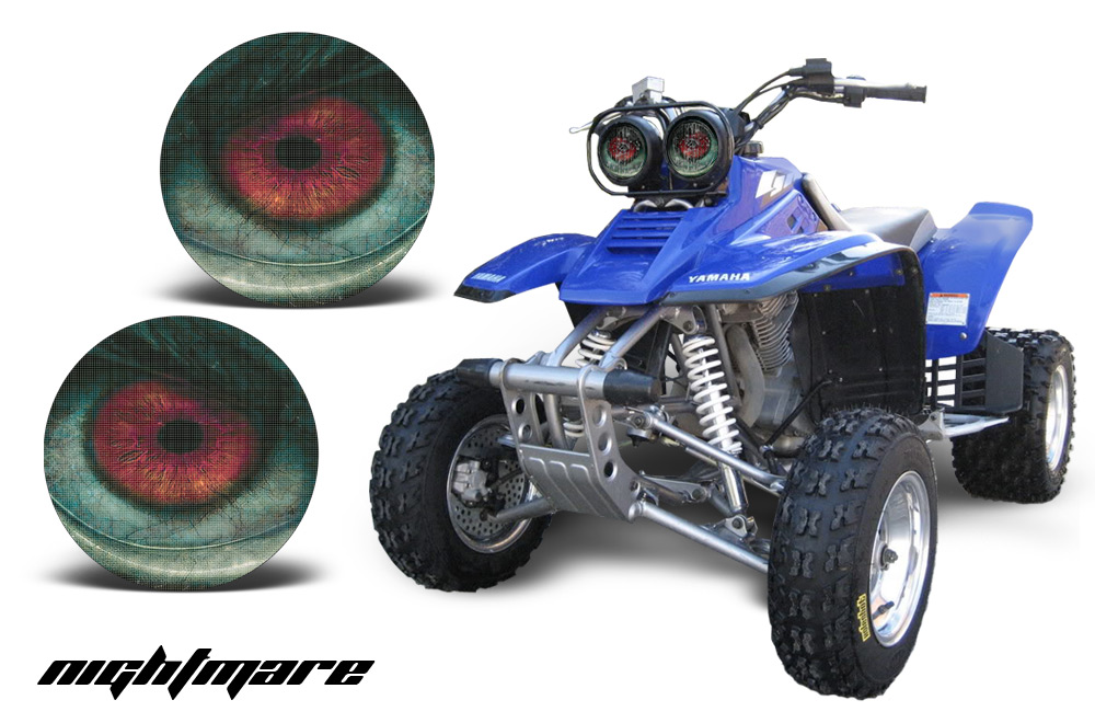 yamaha warrior 350 parts. yamaha warrior head light eye graphic kit. over 7 designs available, eclipse-corrupt-nightmare-zipped. 350 parts