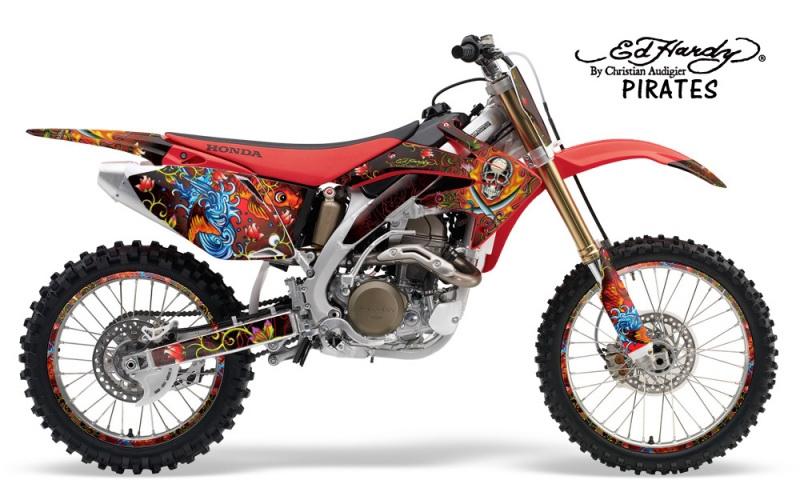 Ed hardy motocross graphic sticker kit honda mx graphics