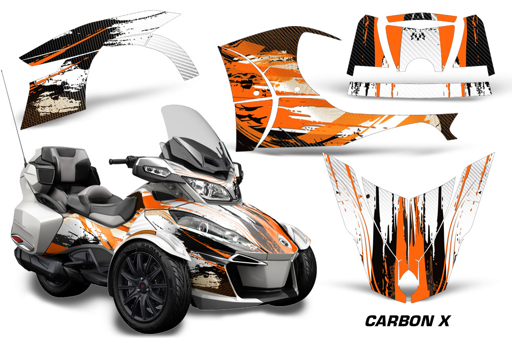 AMR Racing Graphics Can-Am Spyder RT-S Roadster Vinyl Wrap Trim Kit Skulls and Butterflies Black White