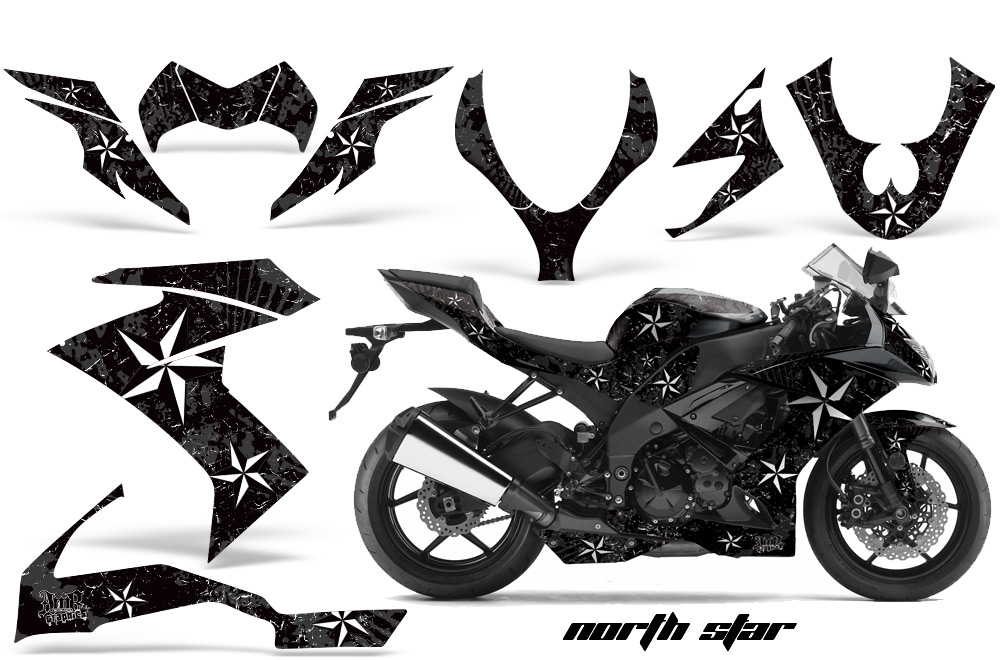2008 2009 2010 kawasaki zx10 ninja street bike graphic decal sticker kit